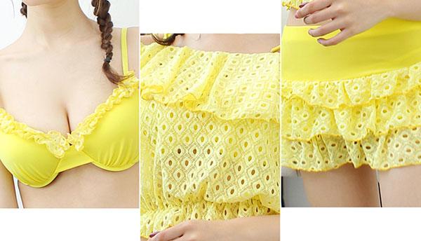 11067SY ชุดว่ายน้ำแฟชั่น ทูพีชพร้อมเสื้อสายเดี่ยวผ้าลูกไม้นิ่ม