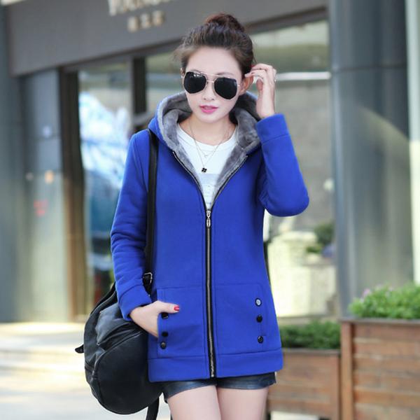 เสื้อแจ็คเก็ต เสื้อกันหนาวสไตล์สปอร์ต มีฮู้ด ซับผ้าขนนุ่มเต็มตัว