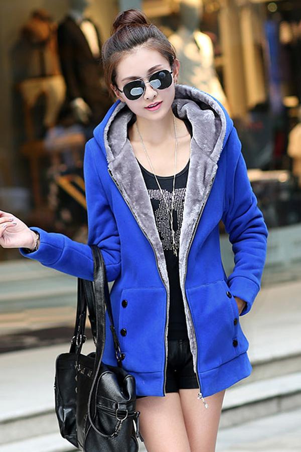 เสื้อกันหนาวติดลบ เสื้อโค้ทกันหนาวสไตล์สปอร์ต มีฮู้ด ซับผ้าขนนุ่มเต็มตัว