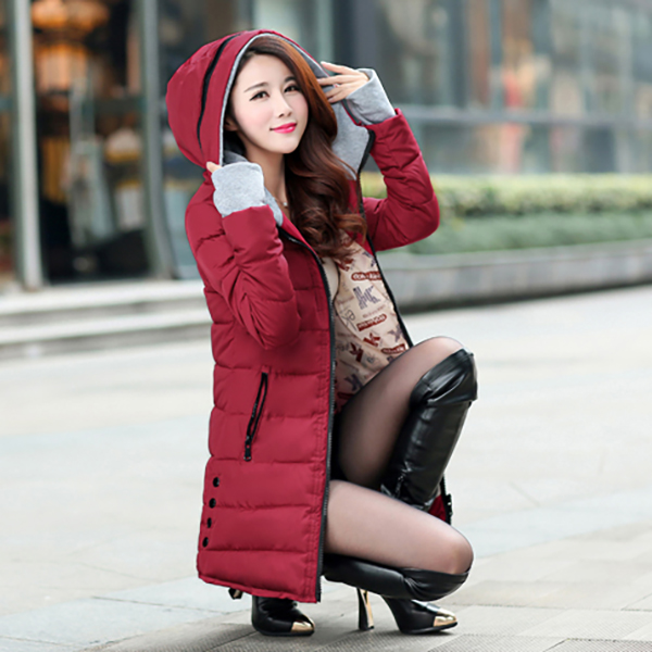 เสื้อโค้ทกันหนาวติดลบลุยหิมะได้ ทรงสลิม มีฮู้ดแต่งซิป