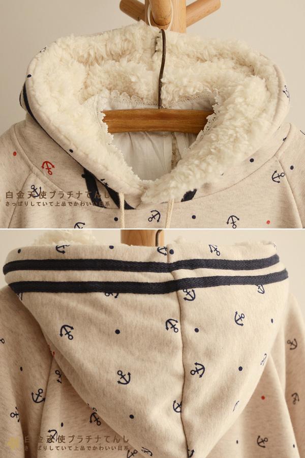 เสื้อกันหนาวแฟชั่นญี่ปุ่น เสื้อคลุมกันหนาวทรงครึ่งวงกลม มีฮู้ดบุขนแกะ