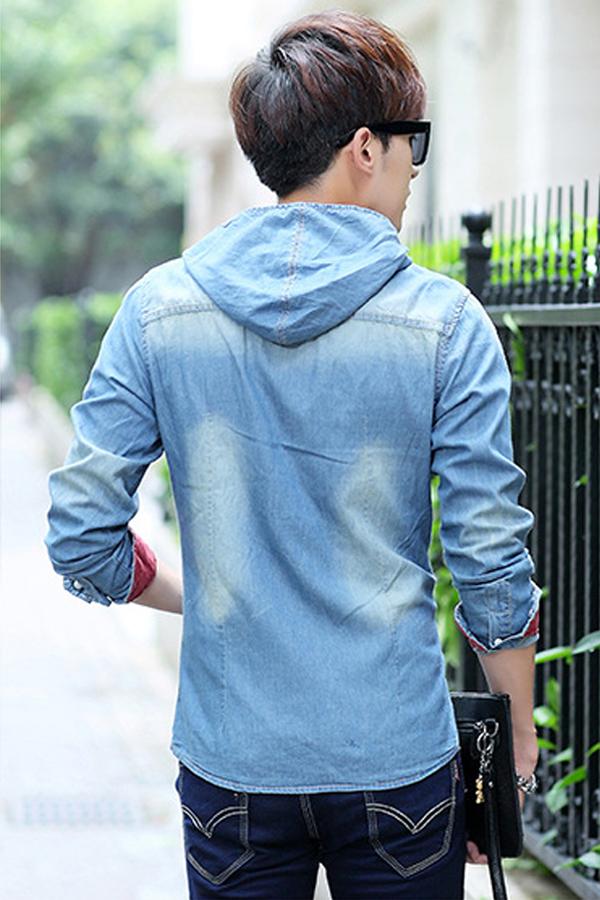 เสื้อแจ็คเก็ตคอตตอนยีนส์แต่งฮู๊ด รุ่น 11237MM