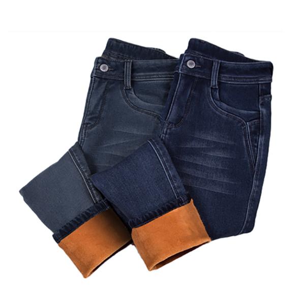 กางเกงยีนส์ทรงสลิม รุ่นหนากันหนาวมีซับกำมะหยี่