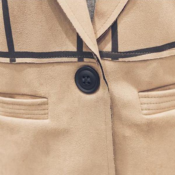 เสื้อโค้ทสูทกันหนาวตัวยาว ผ้ากำมะหยี่นิ่มลายตาราง
