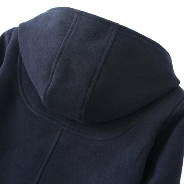 เสื้อโค้ทกันหนาววินเทจ มีฮู้ดแต่งกระดุมเขี้ยว ซับผ้าลายสก็อต