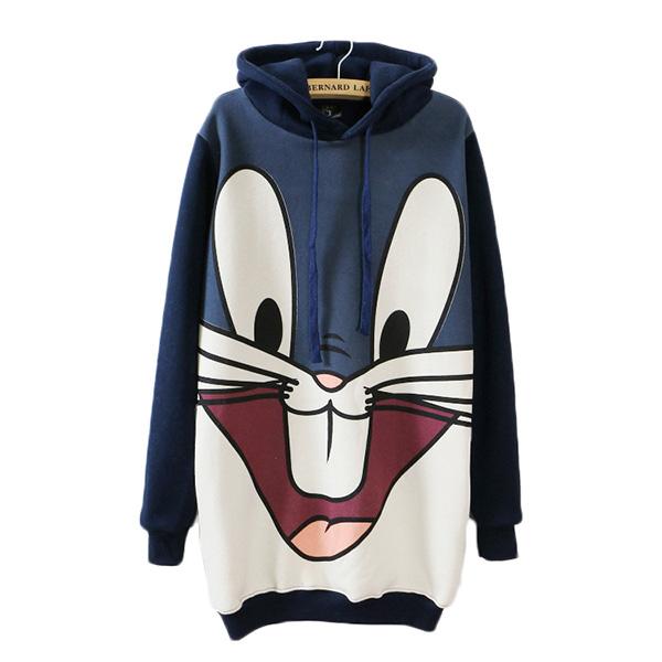 เสื้อสเวตเตอร์กันหนาวตัวยาว มีฮู้ดแต่งหูกระต่าย สกรีนลาย Bug Bunny