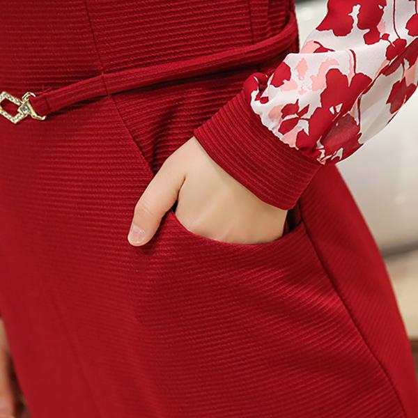 เดรสแฟชั่นชุดทำงาน ผ้าสเปนเดก แต่งเข็มขัดเข้าชุด