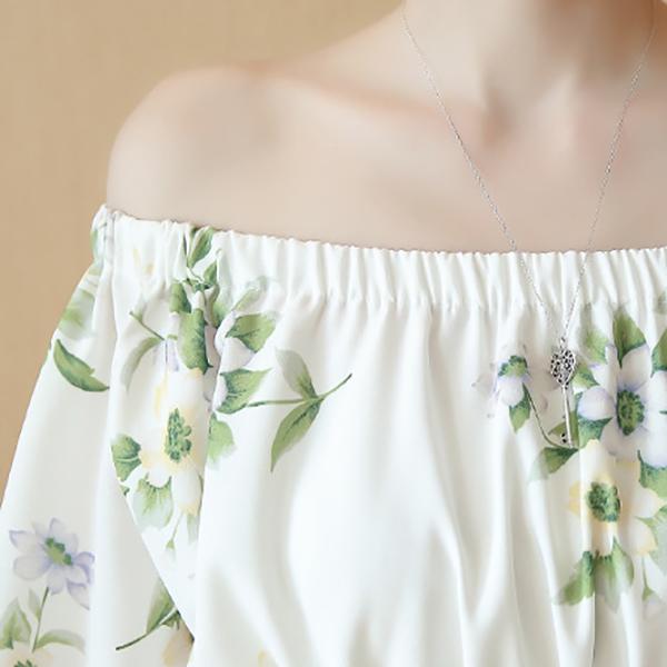 ชุดเสื้อเปิดไหล่คู่กระโปรง ผ้าทอลายดอกสไตล์วินเทจน่ารัก