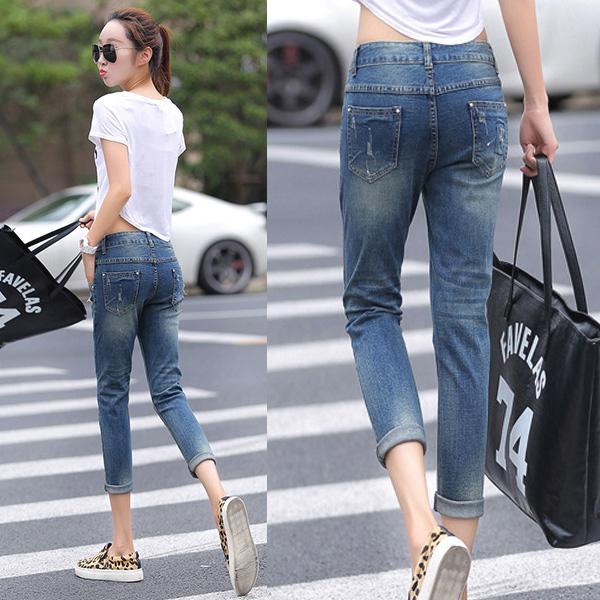 กางเกงยีนส์ทรงสกินนี่ กางเกงยีนส์ขายาวแปดส่วน แต่งขาแนวเซอร์