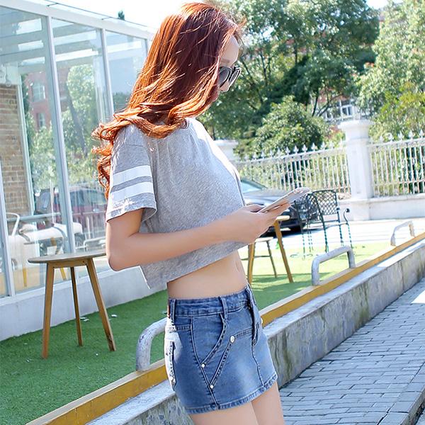 กางเกงยีนส์ขาสั้น กระโปรงยีนส์สั้น กางเกงยีนส์แฟชั่นแต่งซ้อนกระโปรงเก๋