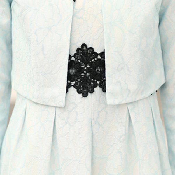 ชุดกระโปรงแฟชั่นแบบ 2 ชิ้น เดรสออกงานแต่งผ้าลูกไม้+เสื้อคลุมตัวสั้น