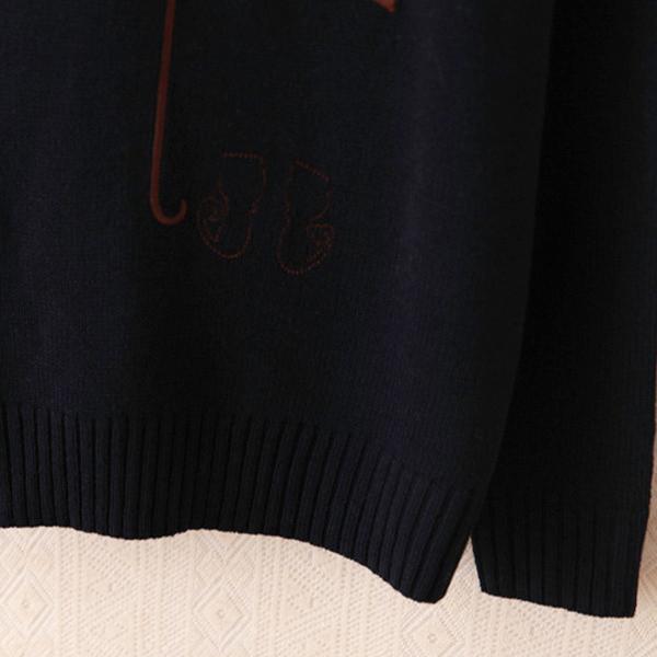 เสื้อสเวตเตอร์ไหมพรมนุ่ม แต่งผ้าปักลายร่มวินเทจ แฟชั่นหน้าหนาว