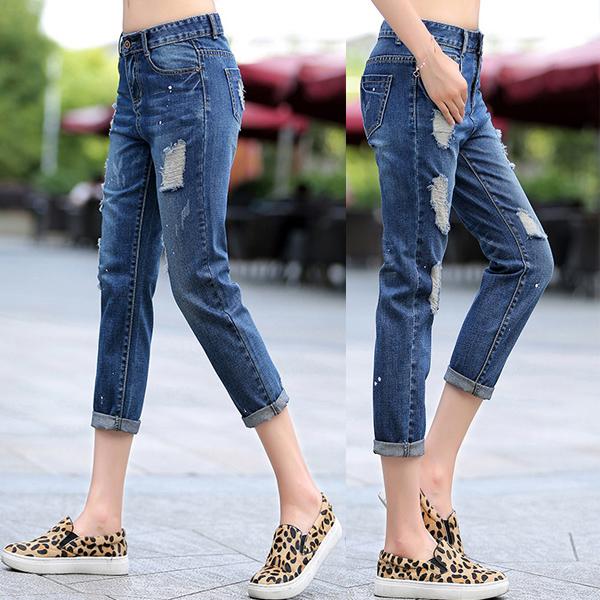 กางเกงยีนส์แฟชั่น กางเกงยีนส์ขายาวแปดส่วน แต่งขาแนวเซอร์