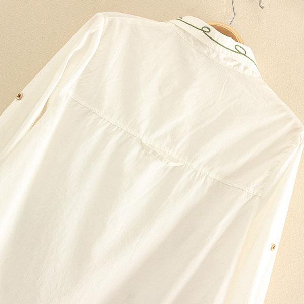 เสื้อเชิ้ตแฟชั่นญี่ปุ่น ปักลายวินเทจ แขนยาวมีสแนป