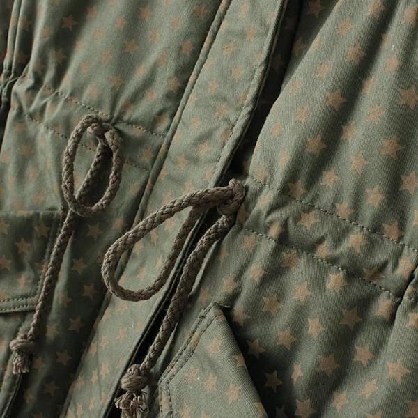 เสื้อโค้ทกันหนาวลายดาว มีฮู้ดขนแกะ ซับขนนุ่มเต็มตัว