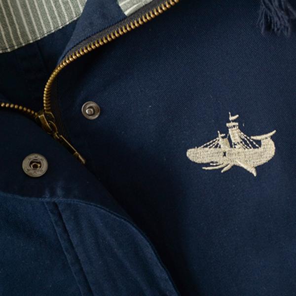 เสื้อแจ็คเก็ตกันหนาวปักลายวินเทจ มีฮู้ดซับผ้าลายทาง