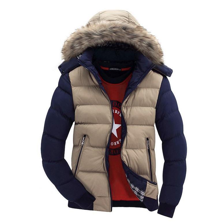 เสื้อแจ็คเก็ตผู้ชายบุนวมหนานุ่ม แต่งฮู๊ด แต่งเฟอร์ (10004MM)