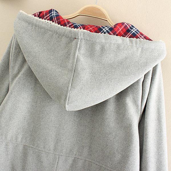 เสื้อกันหนาว เสื้อโค้ทซับผ้าทอลายตาราง มีฮู้ด แต่งกระเป๋าลายไก่
