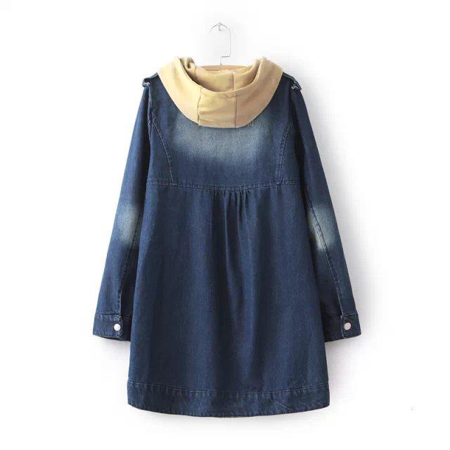 เสื้อโค้ทกันหนาว ผ้ายีนส์ฟอกนิ่มแต่งฮู้ดถอดได้ เสื้อกันหนาวพร้อมส่ง