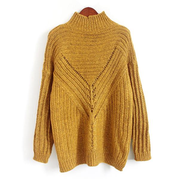 เสื้อสเวตเตอร์กันหนาว คอปีน ไหมพรมกึ่งวูลหนานุ่มถักลายนูน