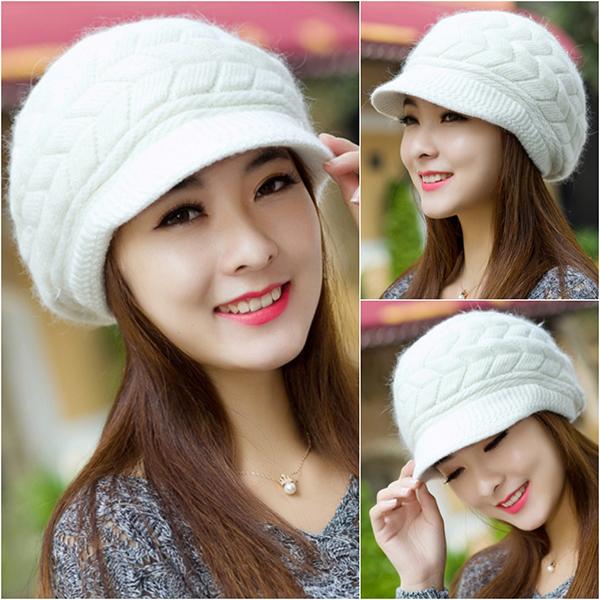 หมวกไหมพรมกันหนาวถักลายนูน ซับผ้าขนแกะทั้งใบ