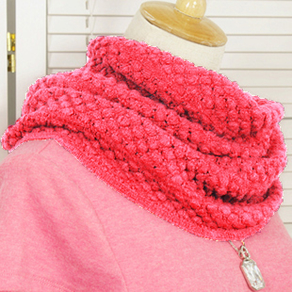 ผ้าพันคอโดนัท ไหมพรมนิ่มถักลายนูน ผ้าพันคอแฟชั่นหน้าหนาว