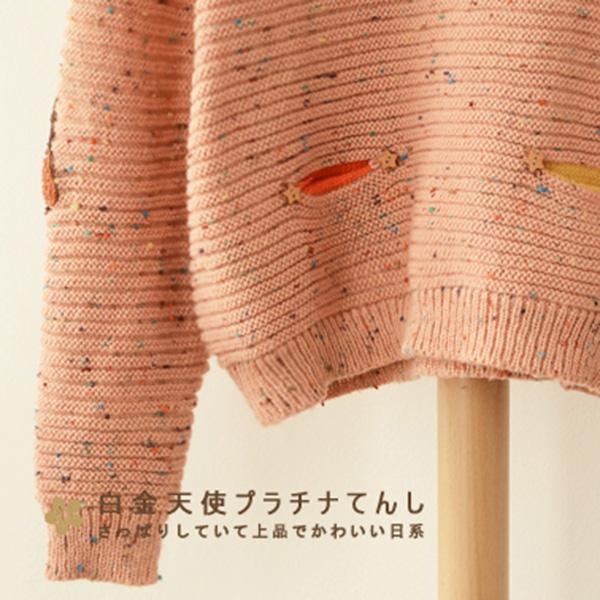 เสื้อสเวตเตอร์ไหมพรมนิ่ม แขนปักลายนกฮูกน่ารัก (11551LM)