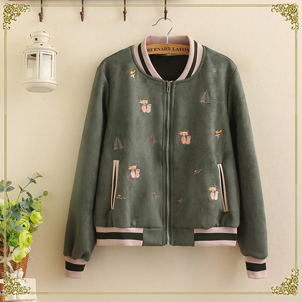 เสื้อแจ็คเก็ต เสื้อกันหนาว ผ้ากำมะหยี่นิ่มปักลายวินเทจ แฟชั่นญี่ปุ่น