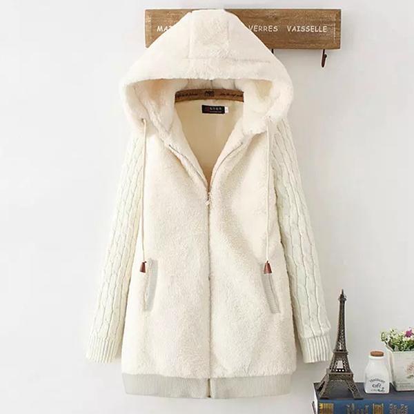 เสื้อโค้ทกันหนาวพรีเมี่ยม ผ้าขนตุ๊กตานิ่มมาก มีฮู้ด หลังปักลายสาวน้อย (11670LM)