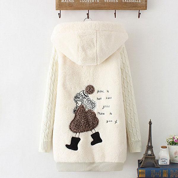 เสื้อโค้ทกันหนาวพรีเมี่ยม ผ้าขนตุ๊กตานิ่มมาก มีฮู้ด หลังปักลายสาวน้อย