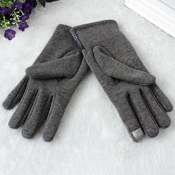 ถุงมือกันหนาวมีซับกำมะหยี่ แต่งโบว์หนัง แบบทัชสกรีนได้