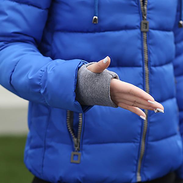เสื้อแจ็คเก็ต เสื้อกันหนาวบุนวมอุ่น มีฮู้ด แต่งกระเป๋าคู่