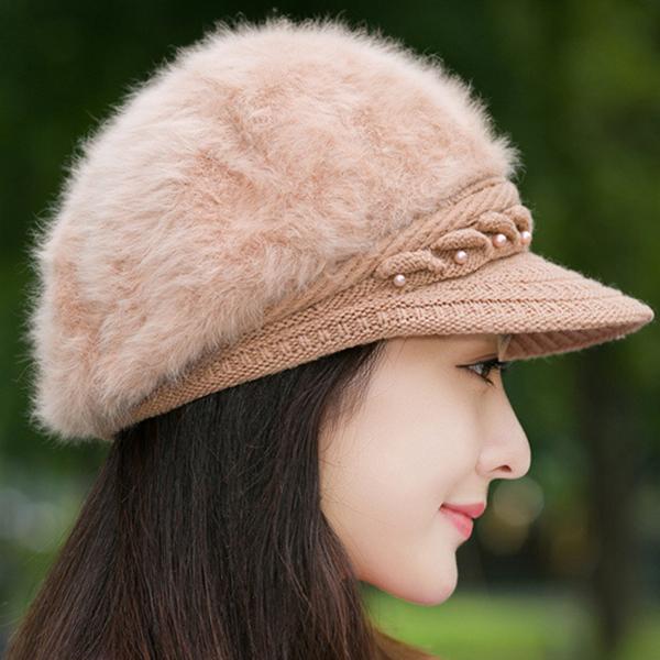 หมวกแฟชั่นหน้าหนาว ไหมพรมขนนุ่มปักหมุด ซับผ้าขนแกะ