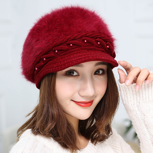 หมวกไหมพรมขนนุ่มปักมุก ซับผ้าขนแกะกันหนาว