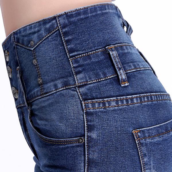 กางเกงยีนส์กันหนาวเอวสูง ทรงสลิม ซับกำมะหยี่ใส่ติดลบได้
