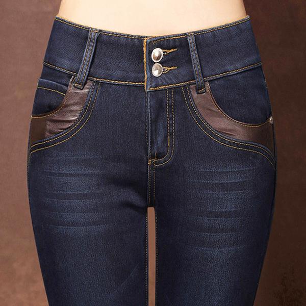 กางเกงยีนส์บุขนกันหนาวทรงสลิม เอวปกติ ใส่ติดลบได้
