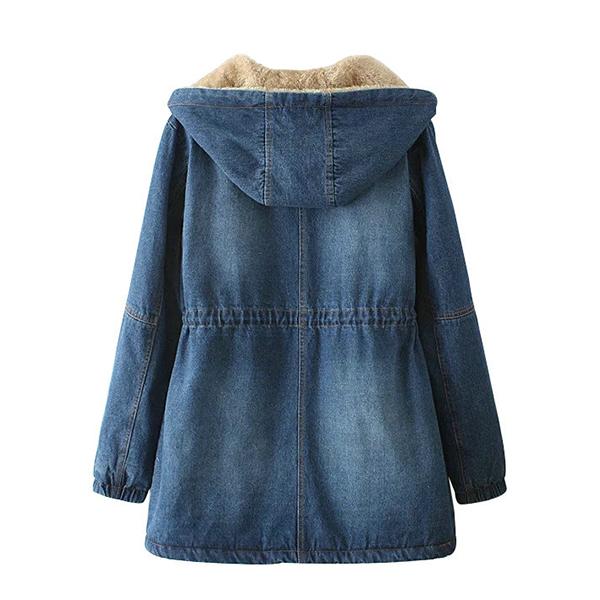 เสื้อโค้ทยีนส์กันหนาวรุ่นหนาลุยหิมะ มีฮู้ด ซับขนนุ่มเต็มตัว