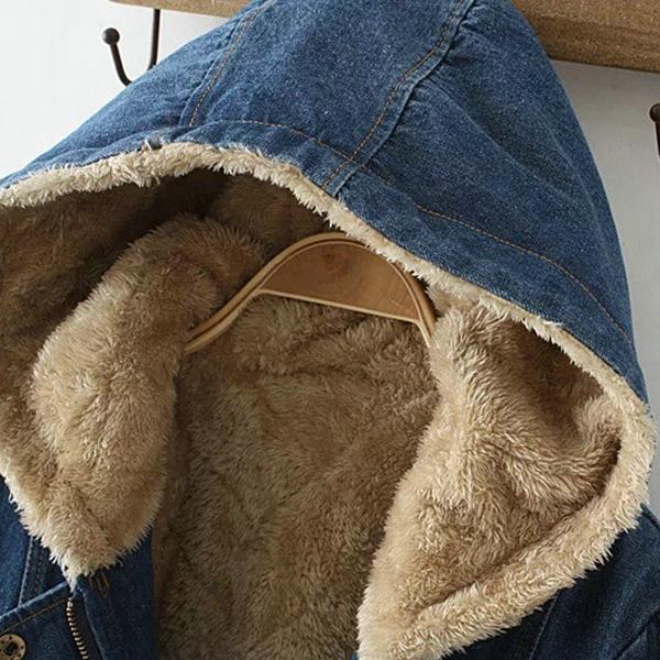 เสื้อโค้ทกันหนาวรุ่นหนาลุยหิมะ ผ้ายีนส์ฟอกนิ่ม ซับขนนุ่มเต็มตัว มีฮู้ด