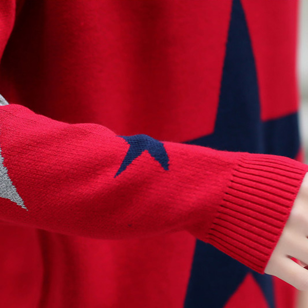 เสื้อแขนยาวไหมพรมกึ่งวูล แขนยาว พิมลายดาวตัดสี