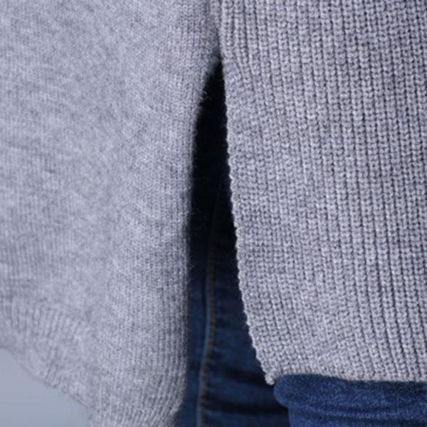 เสื้อคลุมกันหนาวตัวยาว ผ้าไหมพรมกึ่งวูลหนานุ่ม แต่งกระเป๋าคู่