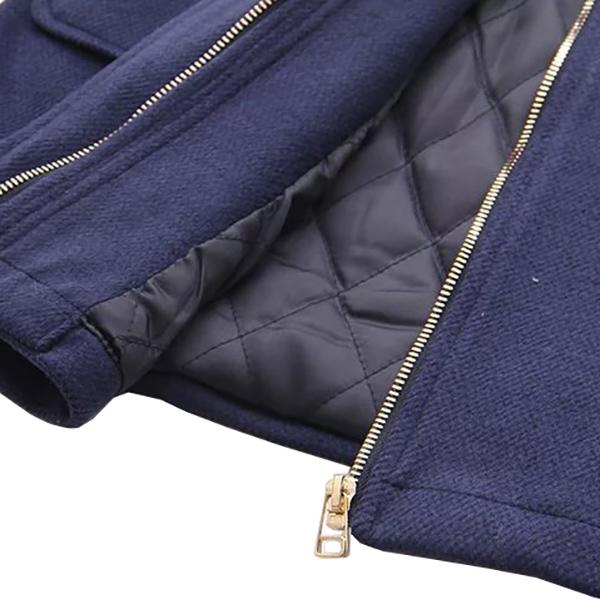 เสื้อโค้ทกันหนาวรุ่นหนา มีฮู้ด แต่งกระดุมเขี้ยว