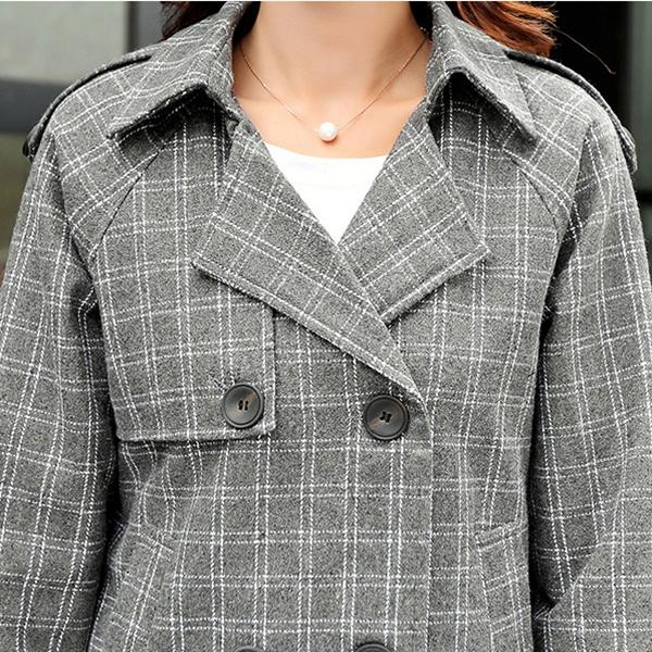 เสื้อโค้ทตัวยาวแฟชั่นหน้าหนาว ผ้าวูลทอลายตาราง แต่งกระดุมคู่