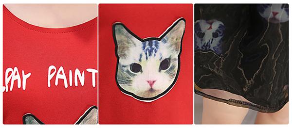 ชุดเดรสแฟชั่นเกาหลี สกีนลายน้องแมว กระโปรงบานน่ารัก
