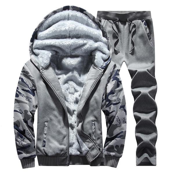 ชุดเสื้อกันหนาซับกำมะหยี่หนานุ่ม พร้อมกางเกงสไตล์สปอร์ต (11723MM)