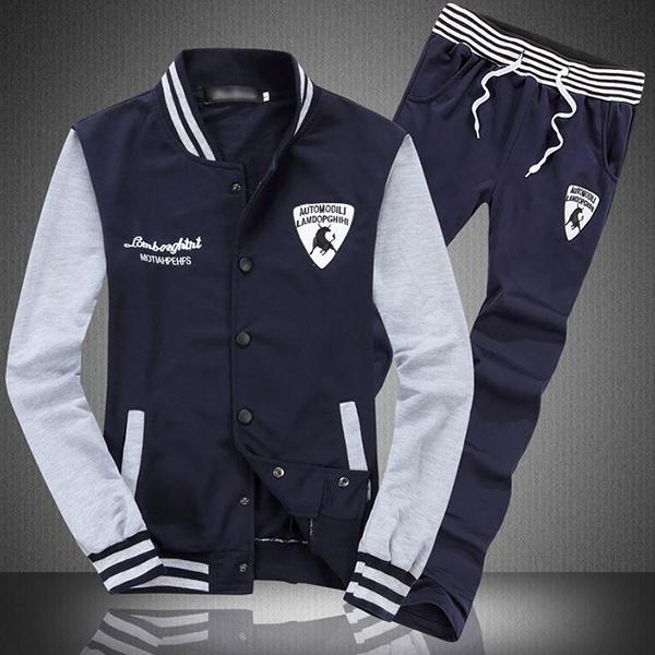 ชุดเสื้อแจ็คเก็ตกันหนาว คู่กางเกงขายาวสไตล์สปอร์ต