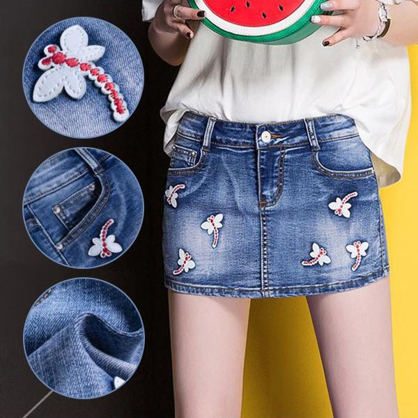กระโปรงกางเกงแฟชั่นเกาหลี แต่งปักแมลงปอน่ารัก
