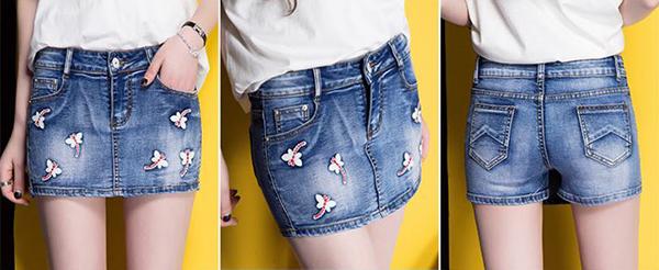 กางเกงกระโปรงยีนส์ขาสั้น แต่งปักลายแมลงปอน่ารัก