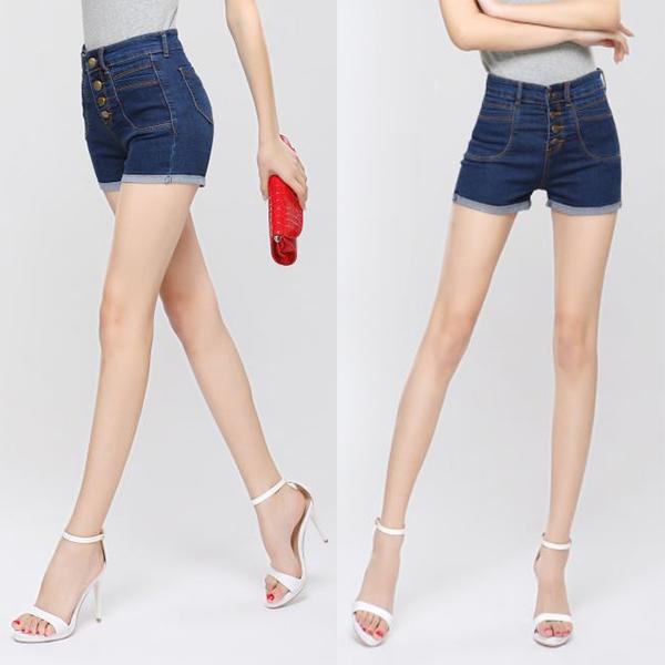 กางเกงยีนส์แฟชั่น เอวสูง ขาสั้น ผ่าหน้าแต่งกระดุม