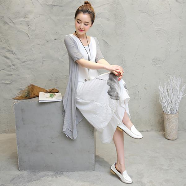 เดรสยาวแขนกุดพร้อมเสื้อคลุมเข้าชุด ผ้าฝ้ายญี่ปุ่นเนื้อนิ่ม ชายพริ้วสวย