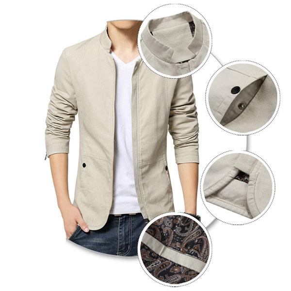 Jacket ผู้ชาย สีพื้น ผ้าคอตตอนแคนวาสหนานุ่ม เสื้อกันหนาวผู้ชาย
